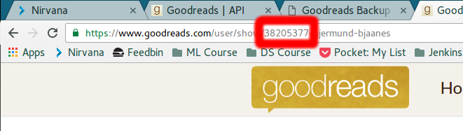 Finding your Goodreads ID from the URL